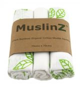 MuslinZ Bamboo/Organic Cotton Muslin Squares GREEN LEAF
