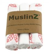MuslinZ Bamboo/Organic Cotton Muslin Squares CORAL LEAF